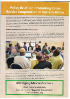 POLICY BRIEF ON PROMOTING CROSS BORDER COOPERATION IN EASTERN AFRICA